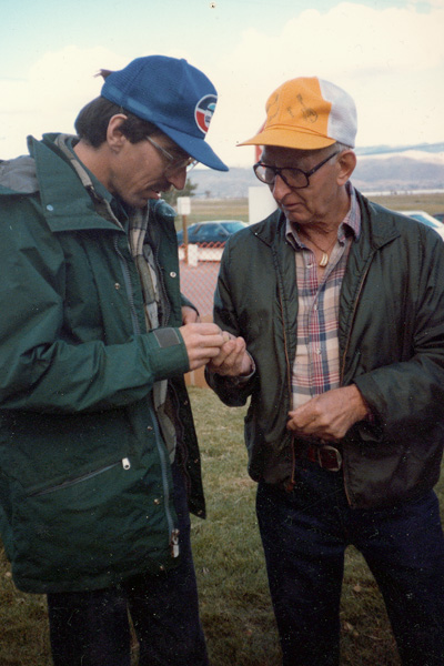 Arnie Gamble and Gil Schliching at Bower's Mansion Nevada about 1987.